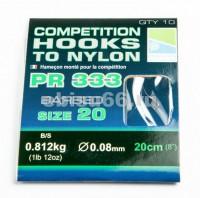 Крючки с поводком 20 см PRESTON COMPETITION 333 HOOKS TO NYLON SIZE 20 - Интернет-магазин товаров для рыбалки Эбису, Екатеринбург